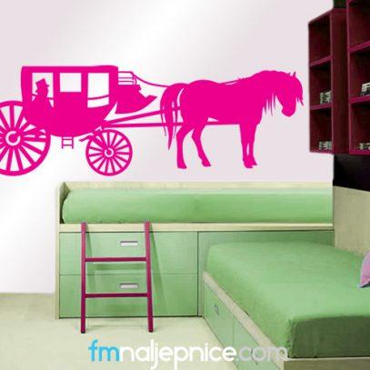 Zidna naljepnica -Kočija s konjem