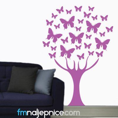 Zidna naljepnica - drvo leptira