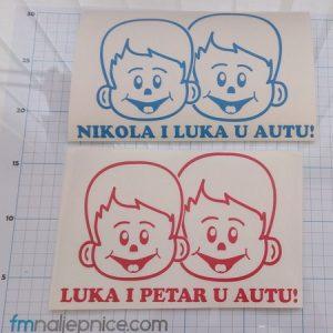 Naljepnica Beba u autu za 2 dečka s Vašim imenom