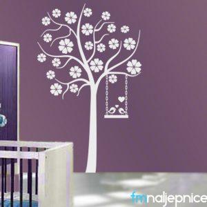 Zidna naljepnica – Drvo s ljuljačkom