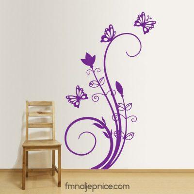 Zidna naljepnica – grana s leptirima