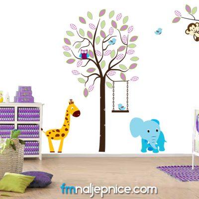 Zidna naljepnica – set Drvo s zivotinjama 2