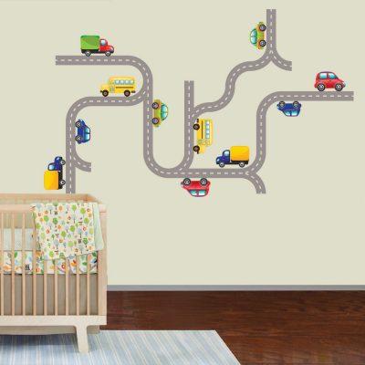 Zidna naljepnica – set cesta s autićima
