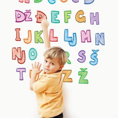 Hrvatska abeceda naljepncia za zid, abeceda za printanje