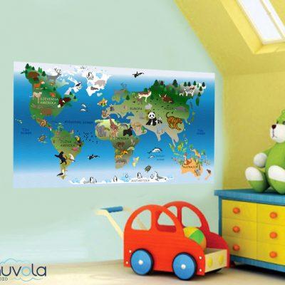 Zidna naljepnica – dječja karta svijeta