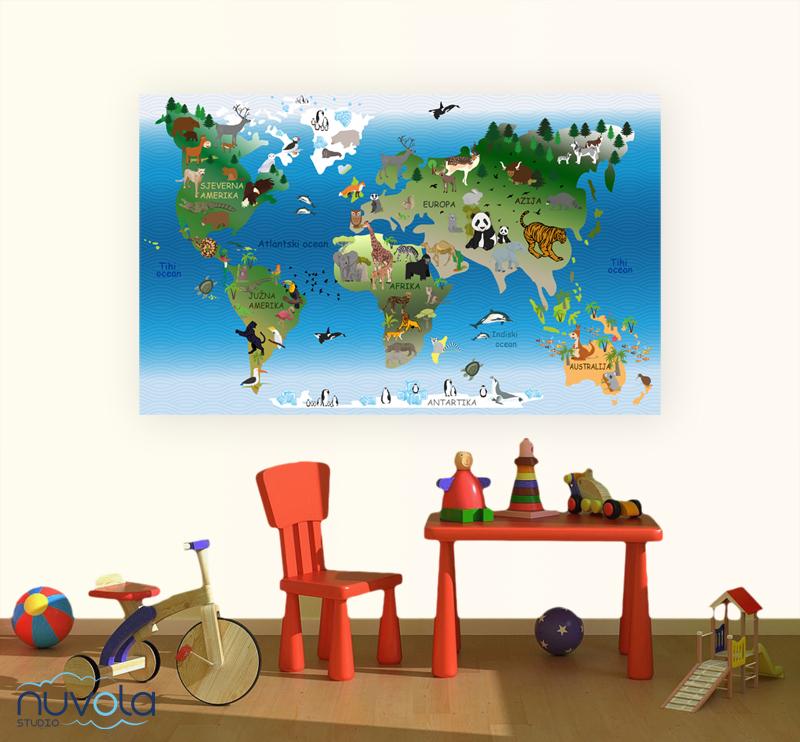 Karta Svijeta Za Djecu Naljepnica Za Zid