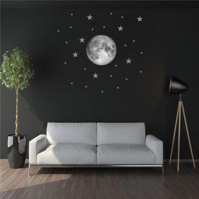Zidna naljepnica – mjesec sa zvijezdama