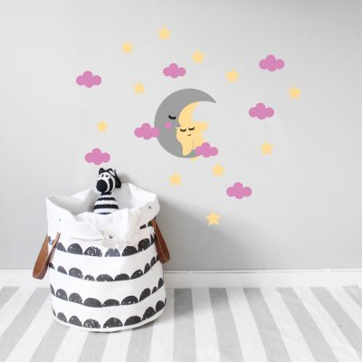Zidne naljepnice – dječji set mjesec i zvijezde (rozo)