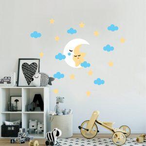 Zidne naljepnice – dječji set mjesec i zvijezde (plavo)