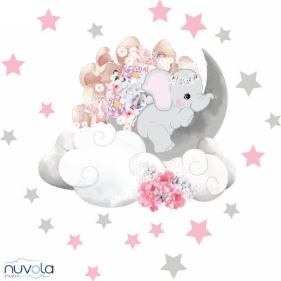 Zidne naljepnice – slonic na mjesecu (rozo)