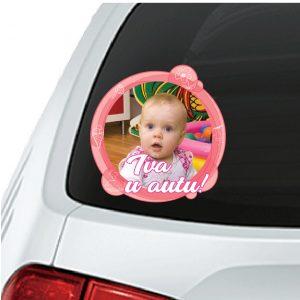 Naljepnica Beba u autu sa slikom roza